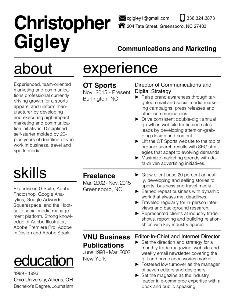 Christopher Gigley Resume